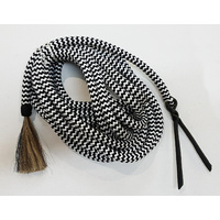 Black and White Mecate w/ Horse Hair Tassel