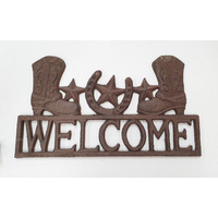 Boots and Stars Metal Welcome Sign