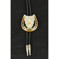 Bolo Tie Horseshoe with Gold Star