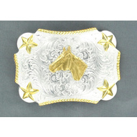Nocona Horsehead Rectangle Star Buckle
