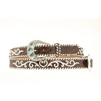 Embroidered Heart Belt, Brown