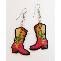 Colors of the Southwest Earrings, Cowgirl Boots