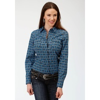 Womens West Made Blue Aztec Shirt