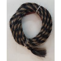 "3/8"" Horsehair Mecate, Black w/Bucksin & White accents"