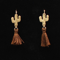Cactus Brown Tassel Earrings