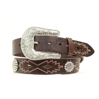 Concho and Stitch Belt, Brown