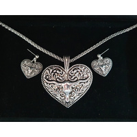 Longhorn Heart Necklace & Earring Set