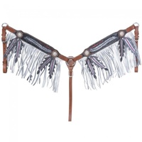 Zane Breastplate with Fringe, Black w/Pink & Silver