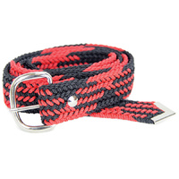 Braided Nylon Belt, Black/Red