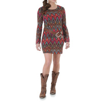 Rock 47 Womens Abstract Chevron Print Long Sleeve Dress