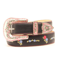 Kids Belt Embroidered, Black