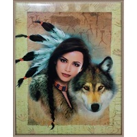 Poster - Indian Girl & Wolf Portrait