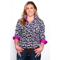 Womens Georgie Half Button Shirt, Floral