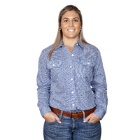 Womens Abbey Print Shirt, Blue Stripes