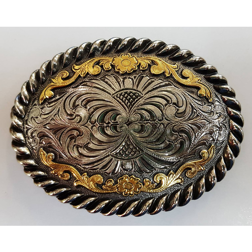 Antique Silver w/Gold Accent Oval Buckle